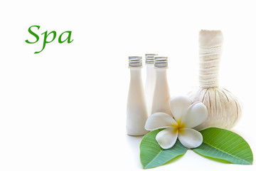 Thai Spa Treatments and massage flower on wooden and white background, banner, copy space.  Healthy Concept.