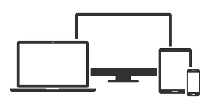 Set of computer monitor, laptop, tablet and mobile phone with blank screen. Flat style - stock vector.