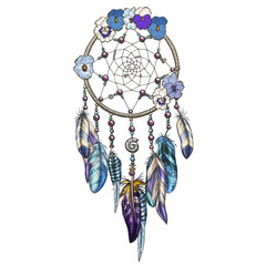 Hand drawn ornate Dreamcatcher with blue and purple wild flowers Astrology, spirituality, magic symbol. Ethnic tribal element.