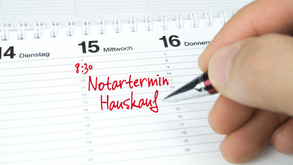 Notartermin Hauskauf / Termin im Terminkalender / Terminplaner