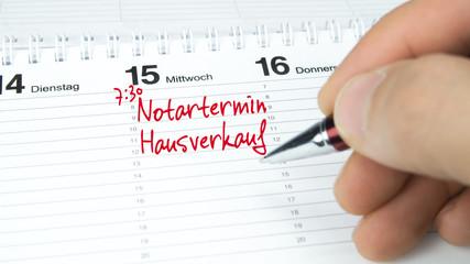Notartermin Hausverkauf / Termin im Terminkalender / Terminplaner