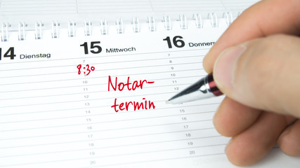 Notartermin / Termin im Terminkalender / Terminplaner