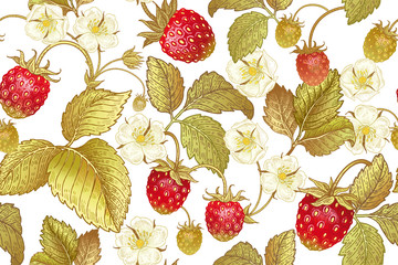 Botanical seamless pattern with strawberry.