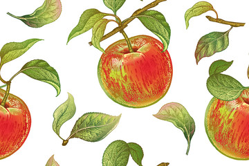 Vintage seamless pattern with apples.
