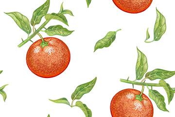 Vintage seamless pattern with mandarin.