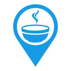 Icono plano localizacion tazon caldo azul
