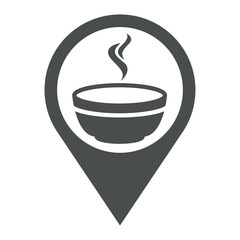 Icono plano localizacion tazon caldo gris