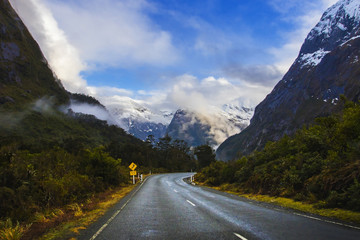 Canvas Prints New Zealand perspective photography of road to milford sound national park most popular natural traveling destination in southland new zealand