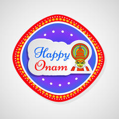 illustration of Hindu Festival Onam background. Onam is a Hindu festival celebrated in the state of Kerala in India. kathakali dance and boat race held during onam festival