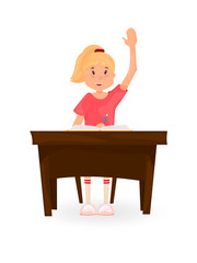 Girl sits at the Desk and pulls his hand. Back to school. Cartoon style.