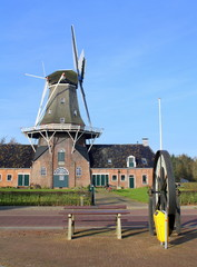 Aluminium Prints Mills Oil and corn mill Woldzigt from 1852 in Roderwolde. The Netherlands
