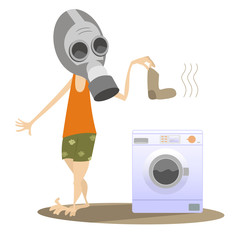 Dirty laundry, man and washing machine isolated. Man in the gas mask holds a dirty sock and going to wash it in the washing machine