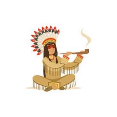 Native american indian in traditional indian clothing sitting in lotus position and smoking pipe vector Illustration