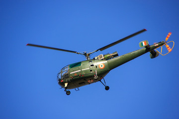 Military helicopter in blue sky, Jaipur, Rajasthan, India