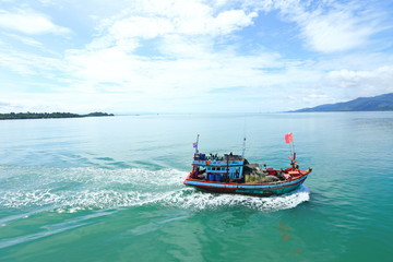 Ferry Carry car vehicles acroos Thai Bay to Koh Chang Island in beautiful sunshine day
