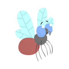 Cute cartoon fly insect character vector Illustration