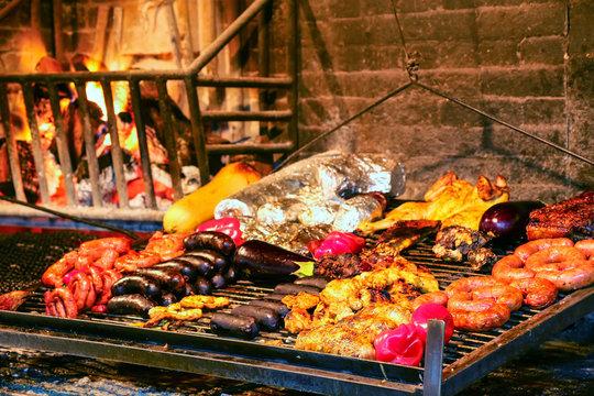 Display of meats in Port Market, Montevideo, Uruguay