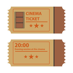 Retro movie ticket, movie ticket logo