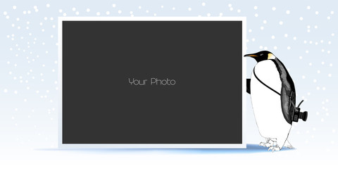 Photo frame collage for winter or New Year vector illustration