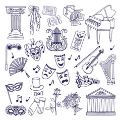 Theatre illustrations set. Opera and ballet vector symbols isolate on white