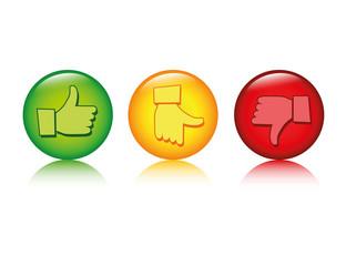 bewertung positiv neutral negativ daumen