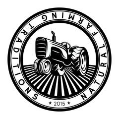 Vector tractor logo illustration. Emblem design