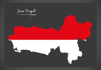 Jawa Tengah Indonesia map with Indonesian national flag illustration