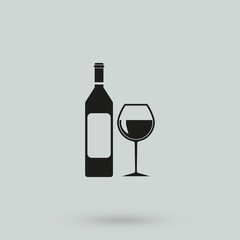 A vector illustration of a wine bottle and glass
