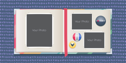 Photo frames collage or scrapbook with borders vector illustration