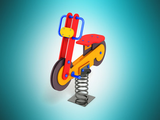 Gaming attraction for children on the spring red blue orange 3D render on a blue background