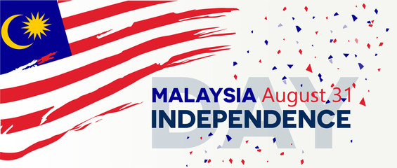 Malaysia independence day abstract background design coupon banner and flyer vector illustration