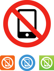 Cell Phones Prohibited Icon - Illustration