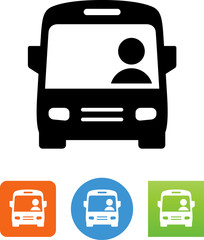 City Bus With Driver Icon - Illustration