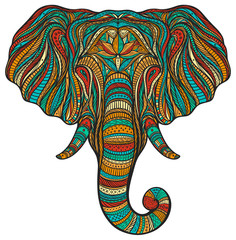 Stylized ethnic boho elephant portrait isolated on white background. Decorative hand drawn doodle vector illustration. Perfect for postcard, poster, print, greeting card, t-shirt, phone case design