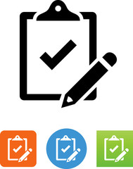 Clipboard With Pencil Icon - Illustration
