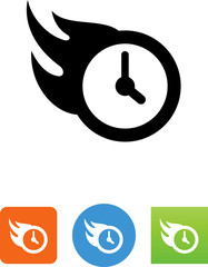 Clock With Flames Icon - Illustration