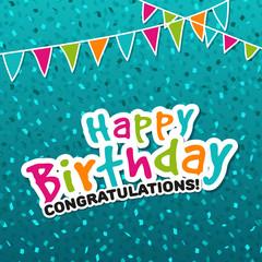 Happy Birthday Congratulations Greeting Card. Eps10 Vector Illustration.