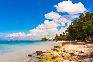 Sand beach in Bayahibe, La Altagracia, Dominican Republic. Copy space for text.