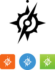 Compass With Needle Icon - Illustration