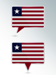 A set of pointers. The national flag of Liberia on the location indicator. Vector illustration.