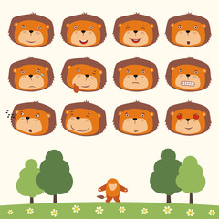 Emoticons set face of lion in cartoon style. Collection isolated heads of lion in different emotion and his body on meadow with trees.