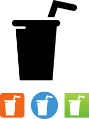 Cup With Straw Icon - Illustration