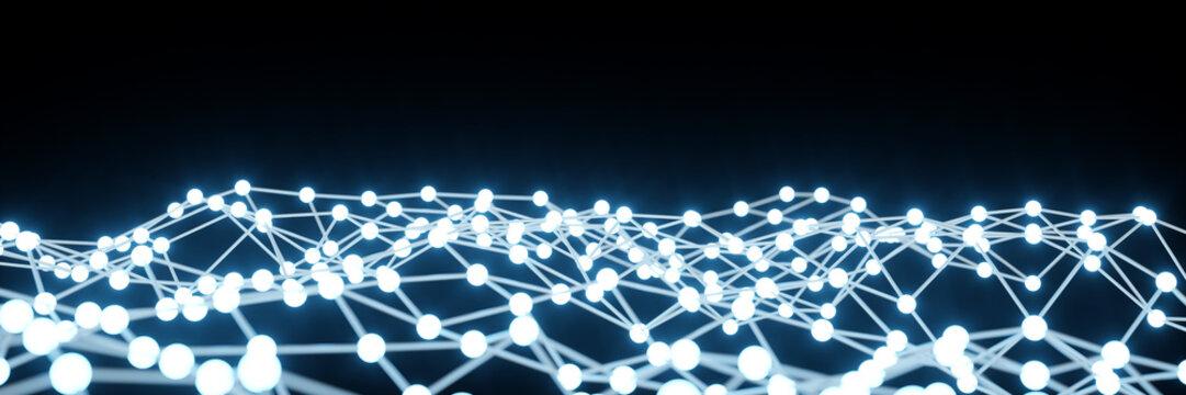 Netzwerk Verbindungen als Panorama Hintergrund