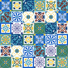 Acrylic Prints Moroccan Tiles Portuguese traditional ornate azulejo, different types of tiles 6x6, seamless vector pattern in yellow, green, blue and white colors