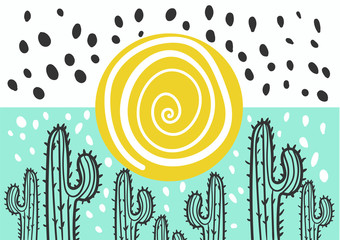 Abstract picture with cactus and sun