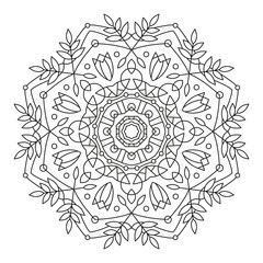 Mandala. Round Flower Element For Coloring Book. Black Lines on White Background. Abstract Geometric Ornament. Vector.