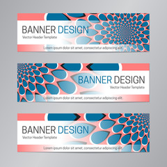 Blue red banner design. Abstract web header template.