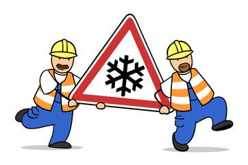 Schnee und Eisglätte Verkehrszeichen