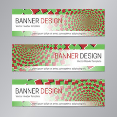 Abstract web header design. Red green banner template.