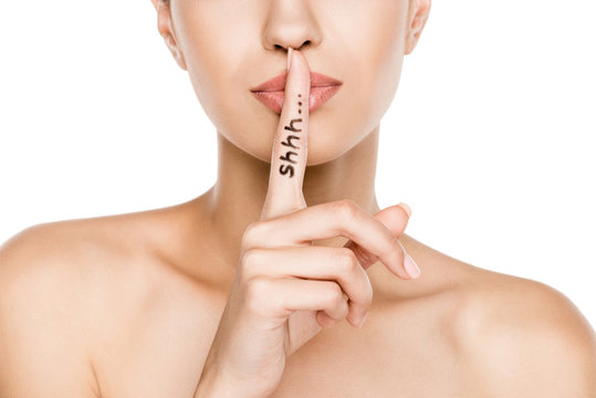 cropped view of beautiful woman with shh symbol, isolated on white